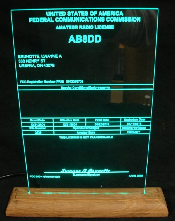 Amateur Radio License Displays